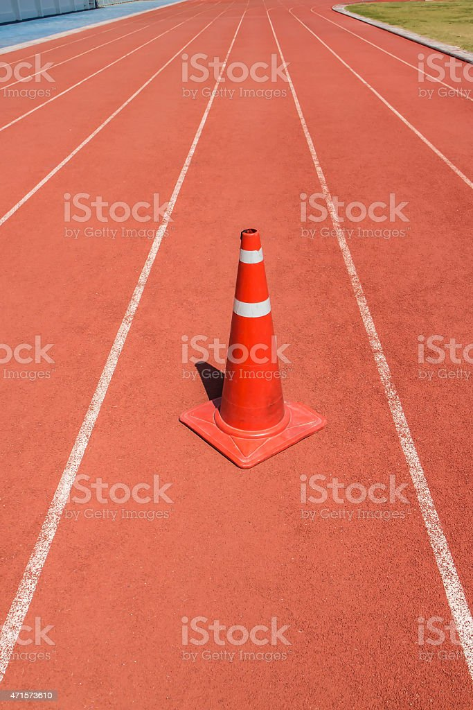 Running track with traffic cone royalty-free stock photo