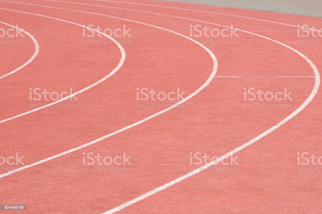 Running tracks in stadium stock photo