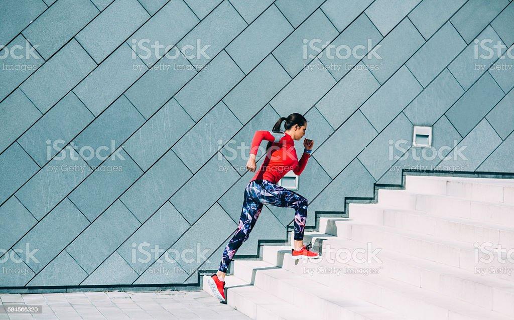 Running Up The Stairs stock photo
