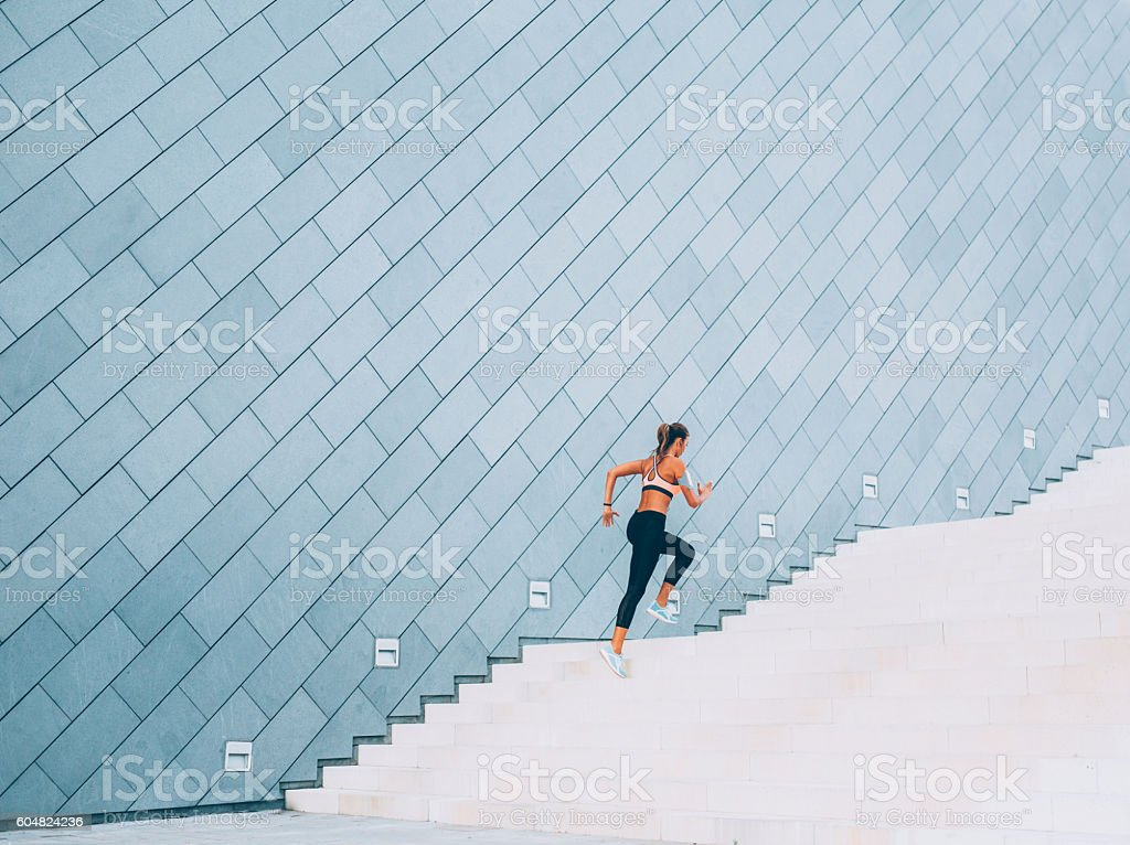 Running Up The Stairs stock photo