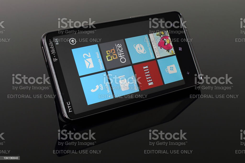 HTC HD7 running Windows Phone 7 stock photo