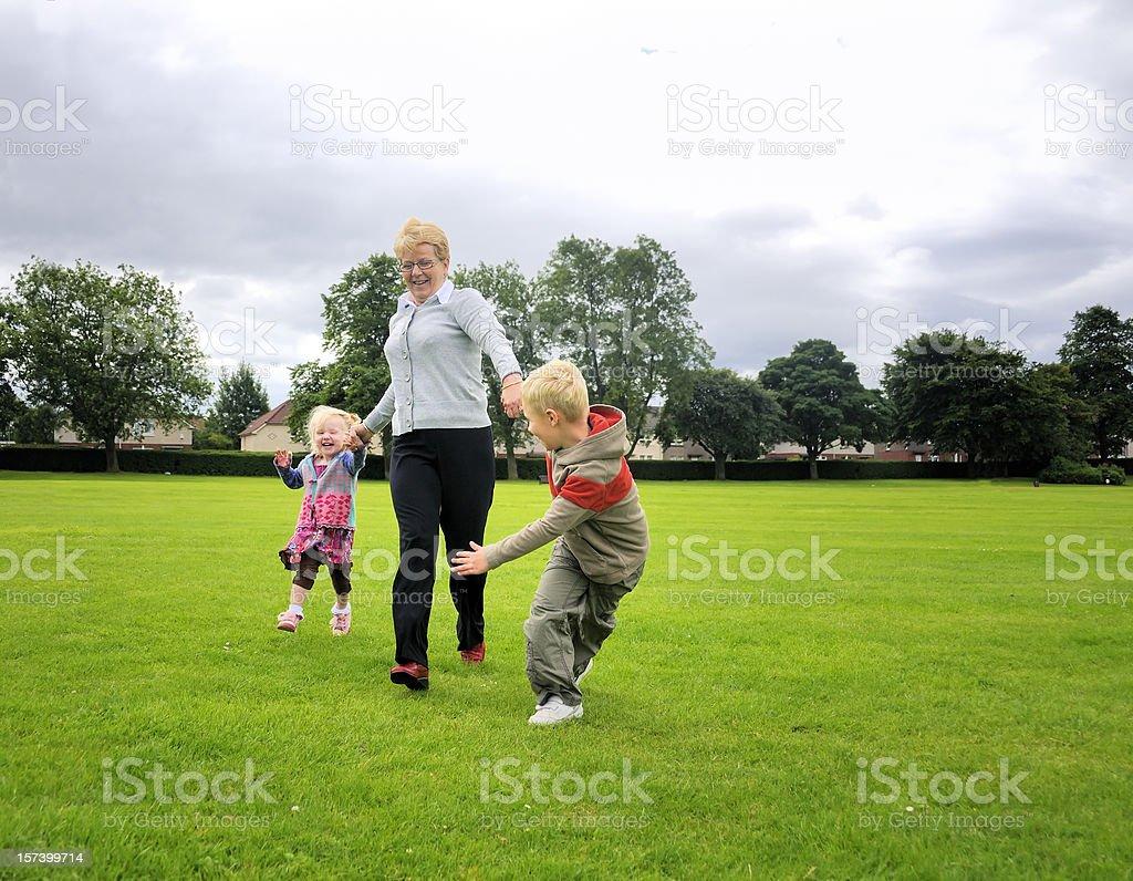 running with grandma royalty-free stock photo