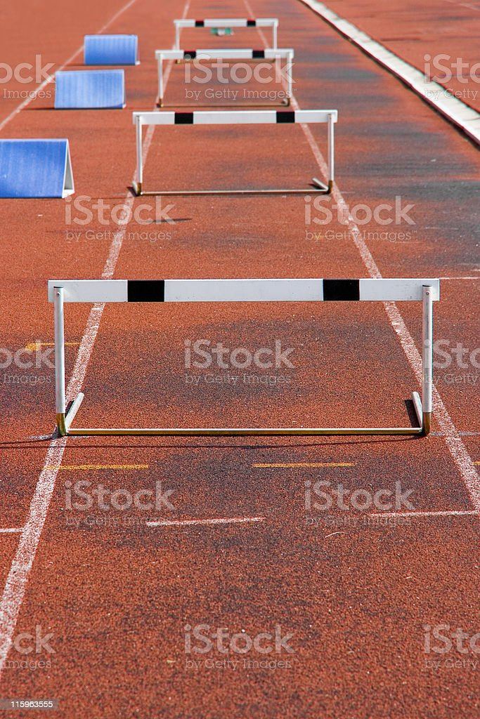 Running with Hurdle track royalty-free stock photo
