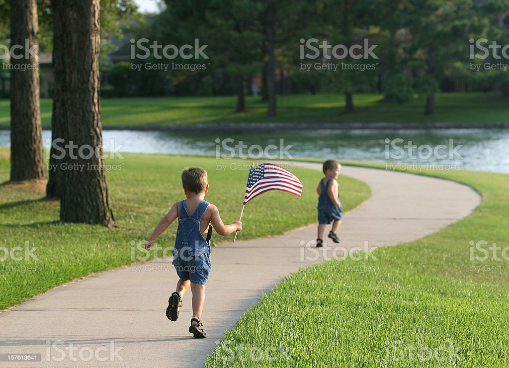 Running with the flag, again stock photo