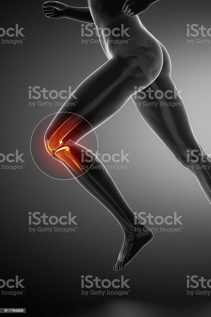 Running woman - knee anatomy stock photo