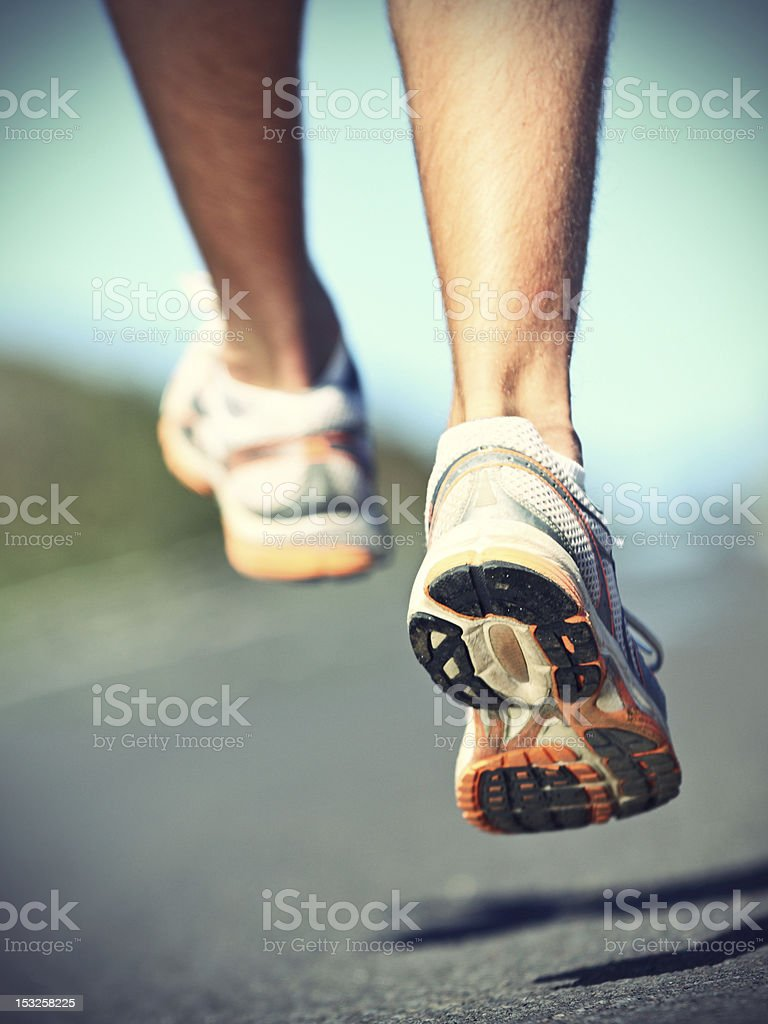 Runnning shoes on runner stock photo