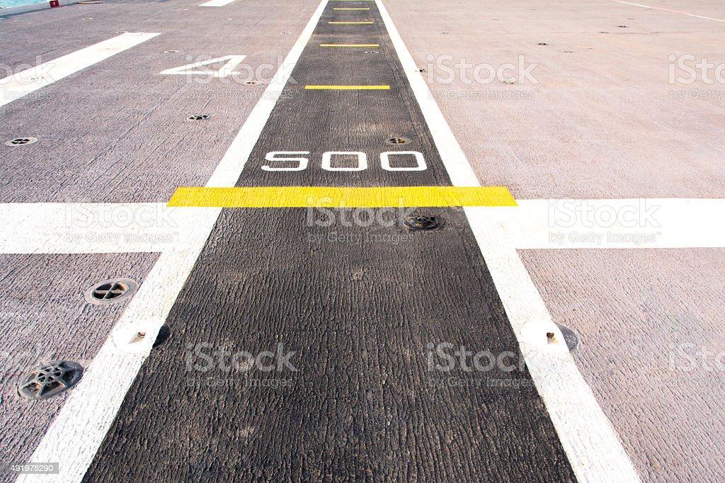 Runway airstrip on the warship stock photo
