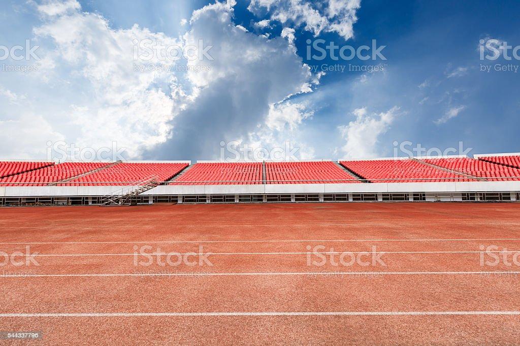 runway and bleachers at the stadium stock photo