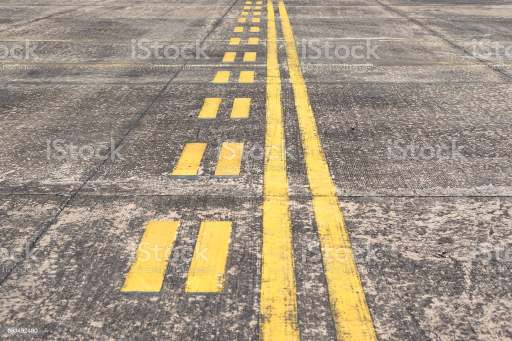 Runway holding postion line stock photo