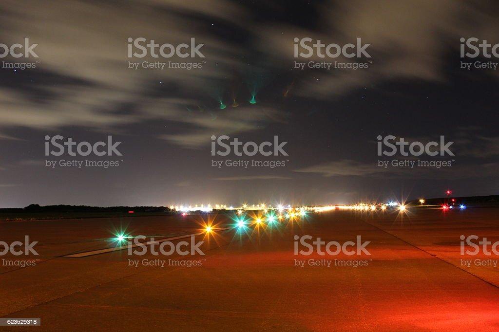 Runway Lighting at Night stock photo