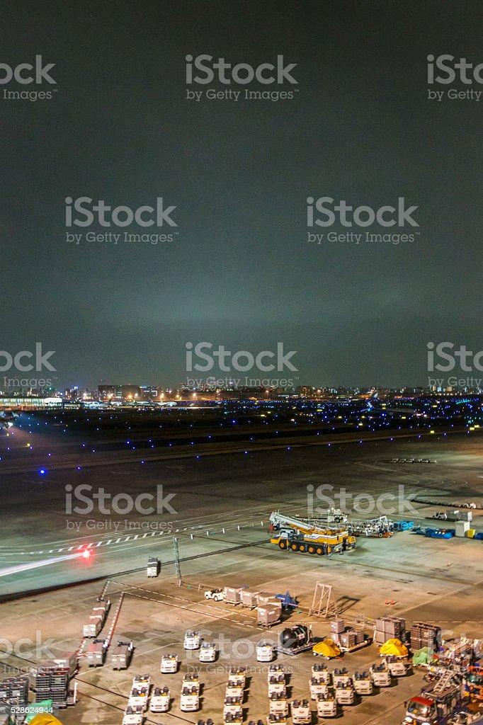 Runway of Haneda Airport stock photo