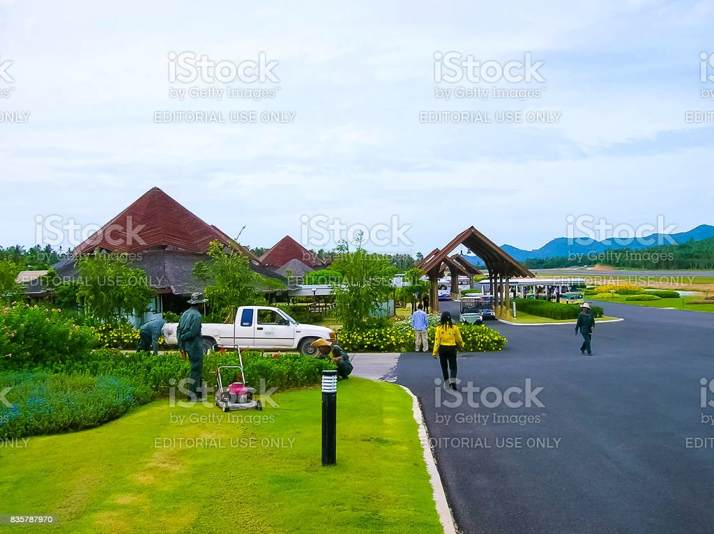 Runway of Samui Island Domestic Airport in sunny day stock photo