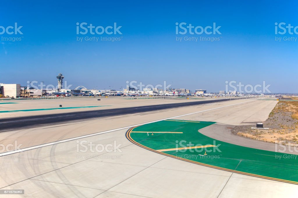 runway with marks at the airport stock photo