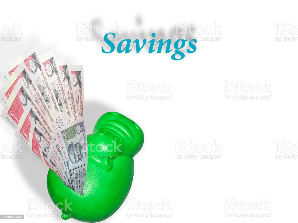 Rupee note or money liquifying to the hippobank as saving. stock photo