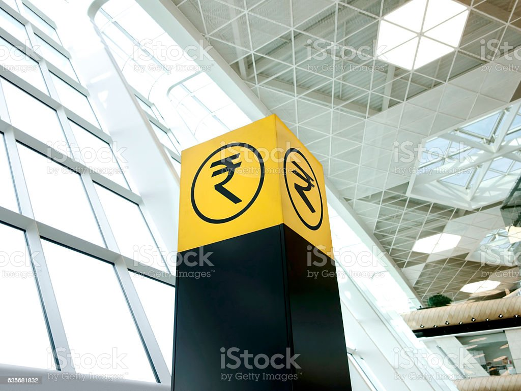 Rupee sign stock photo