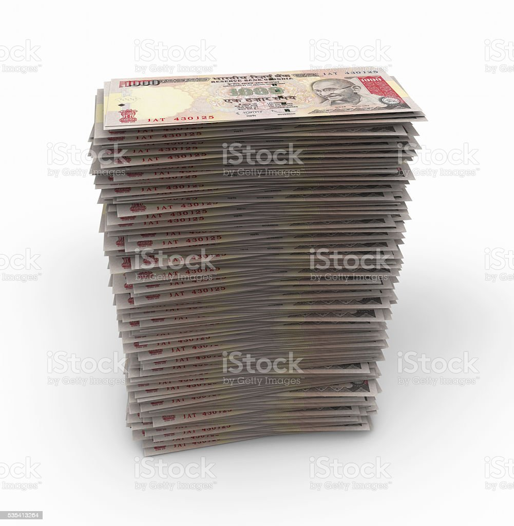 Rupees Stack stock photo