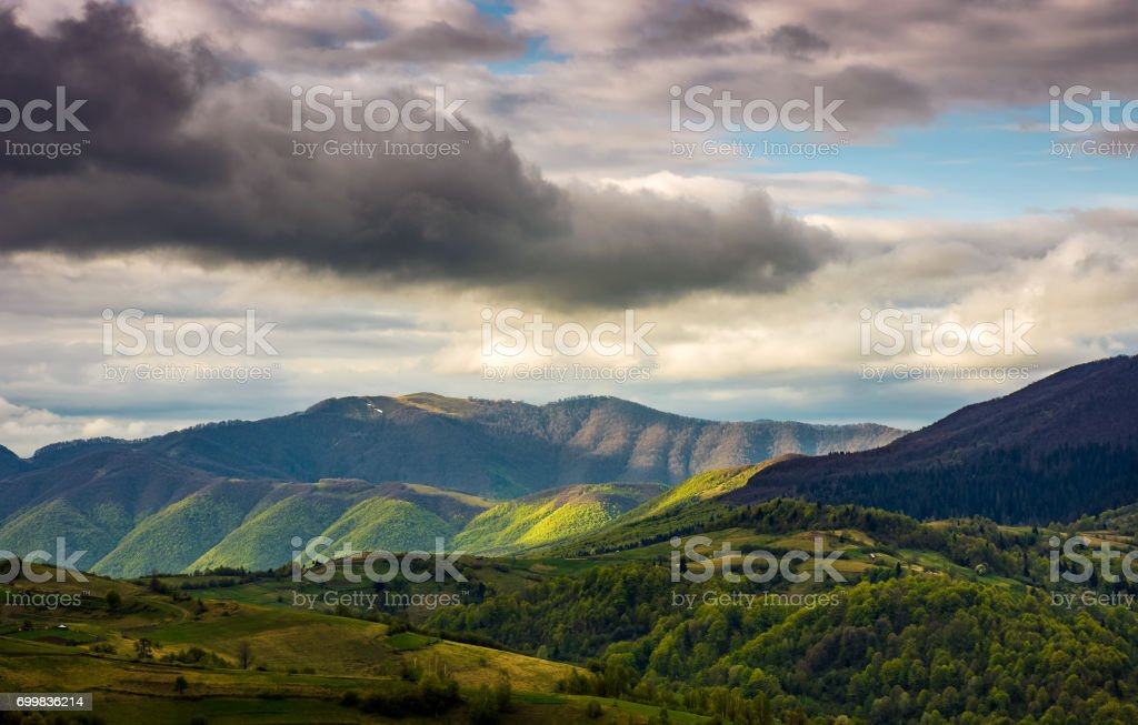 rural area in mountains on cloudy day stock photo