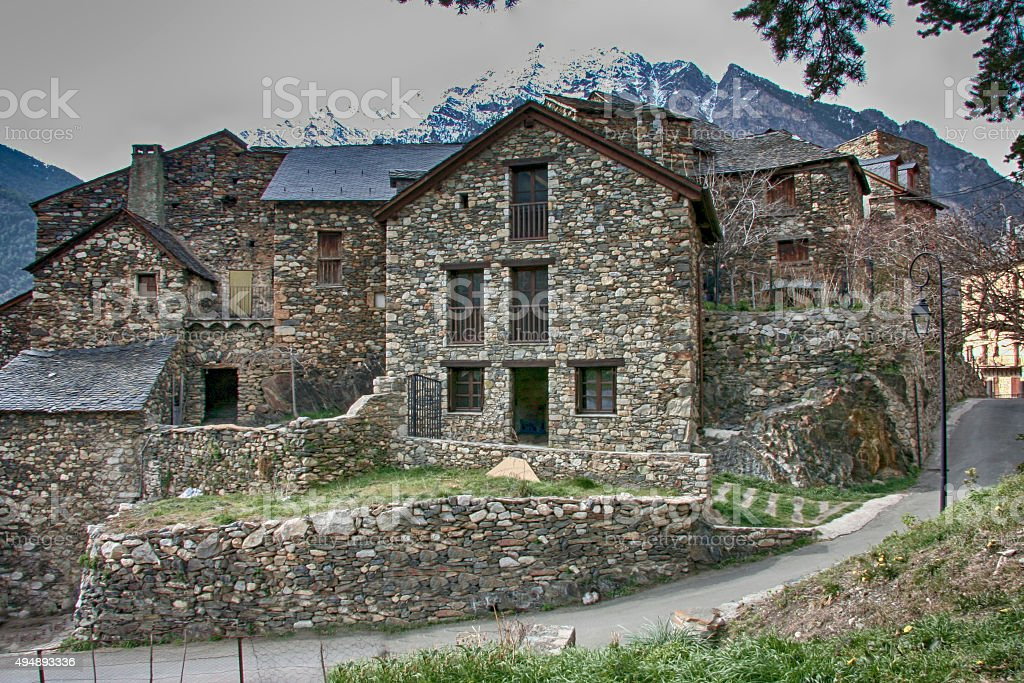 Rural arquitecture ar Pyreneens stock photo