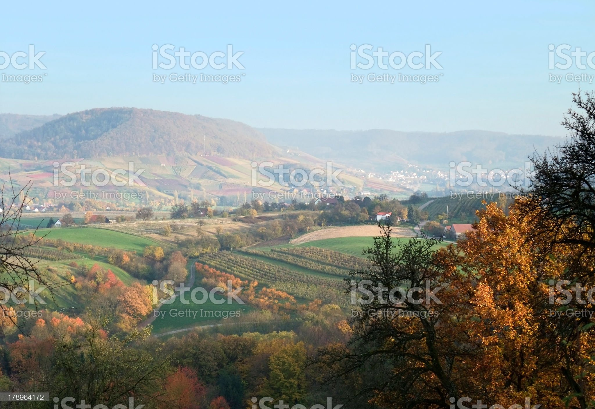 rural autumn scenery in sunny ambiance royalty-free stock photo