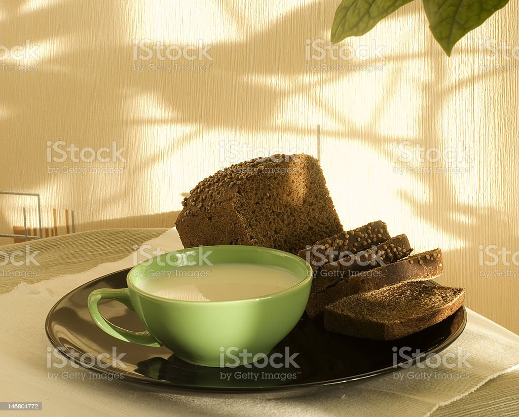 Rural breakfast on a black plate royalty-free stock photo