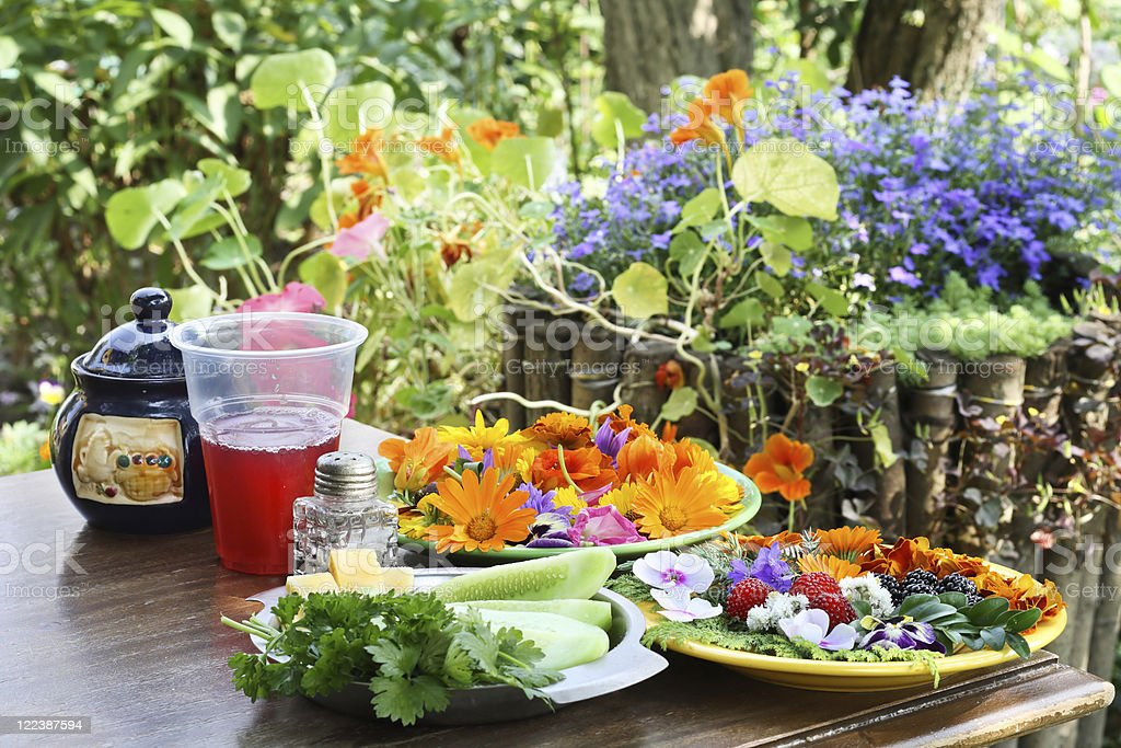 Rural breakfast with flowers royalty-free stock photo