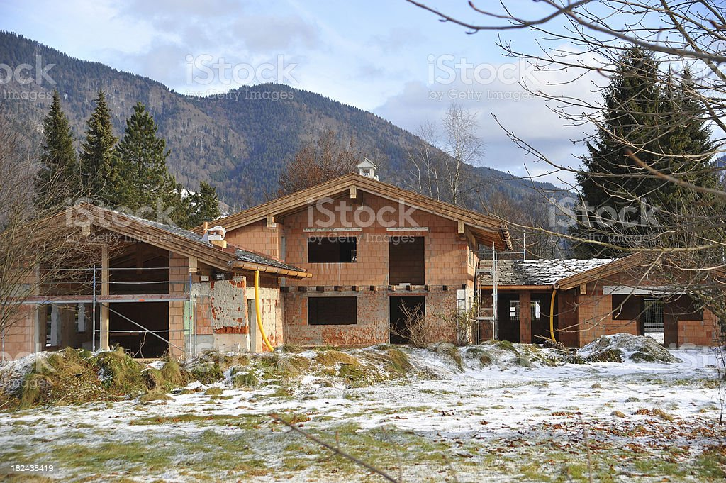 rural building under construction stock photo