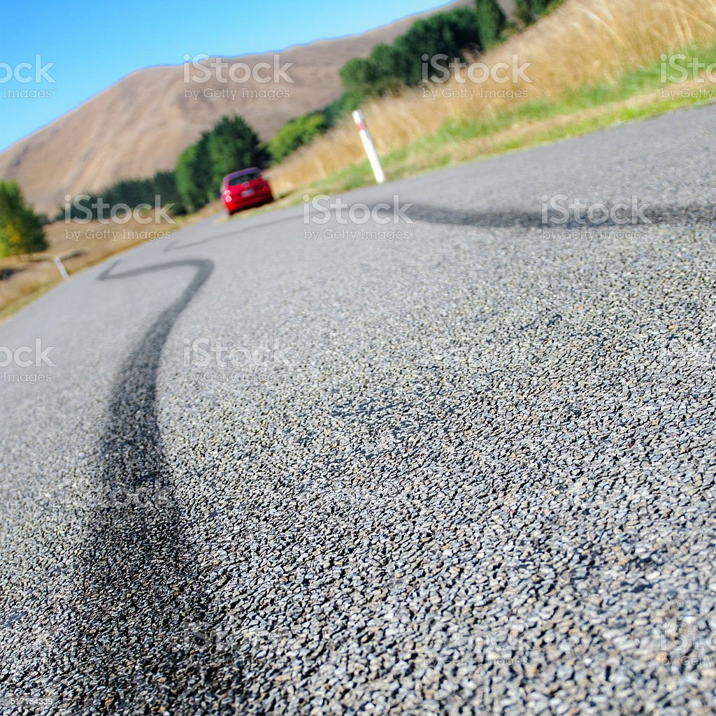 Rural car accident stock photo