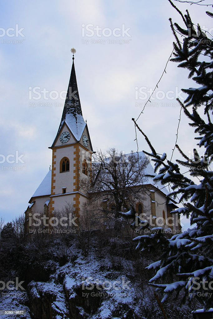 rural catholic church stock photo