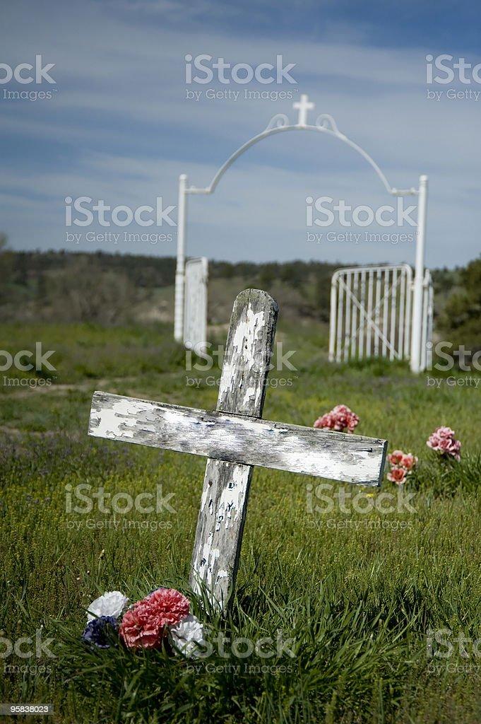 Rural Cemetery Wooden Cross - Pine Ridge, SD royalty-free stock photo