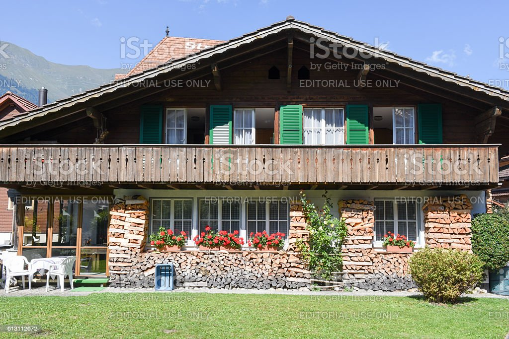 Rural chalet of Iseltwald in Jungfrau region on Switzerland stock photo