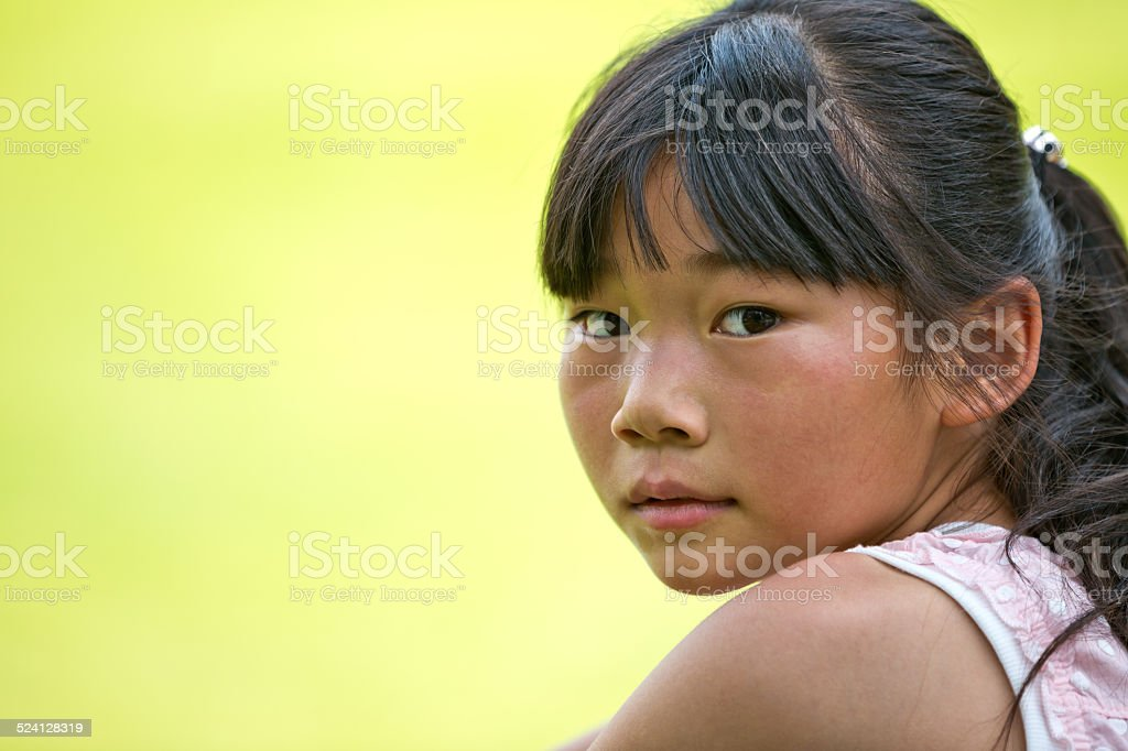 Rural Chinese little girl stock photo