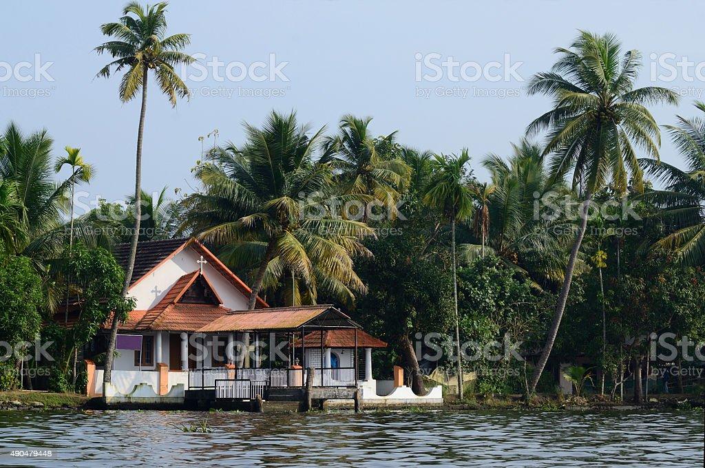 Rural church at Alappuzha backwaters,South India,Kerala,unesco stock photo