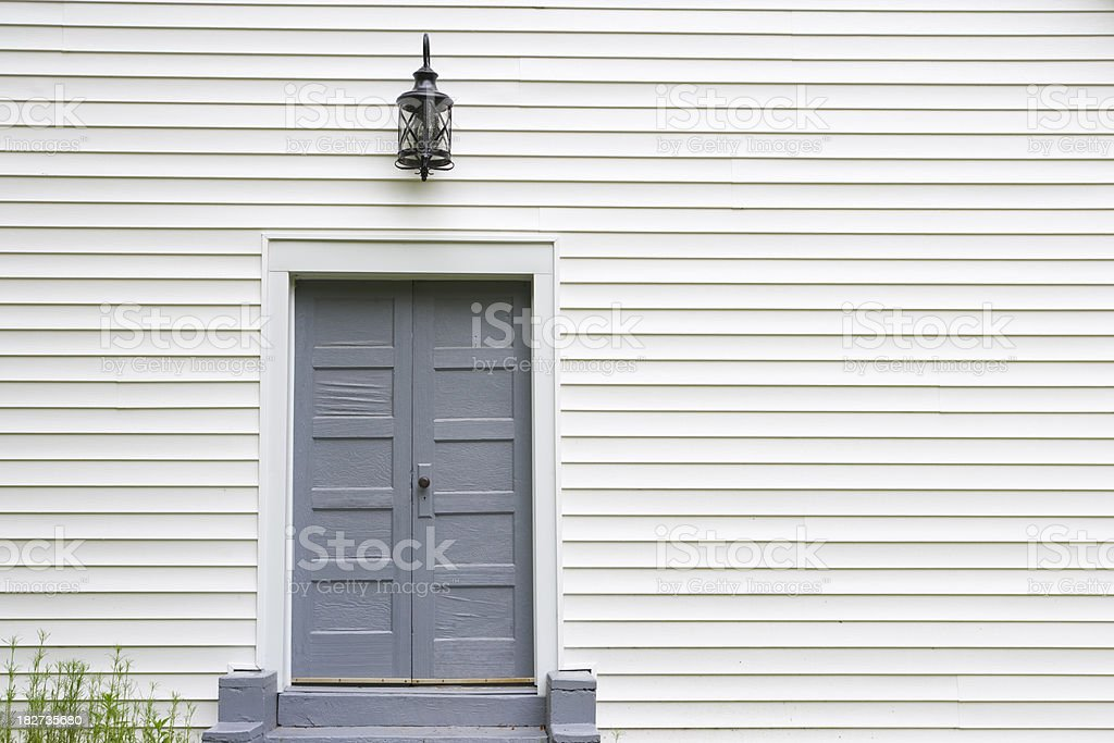 Rural church exterior with door royalty-free stock photo