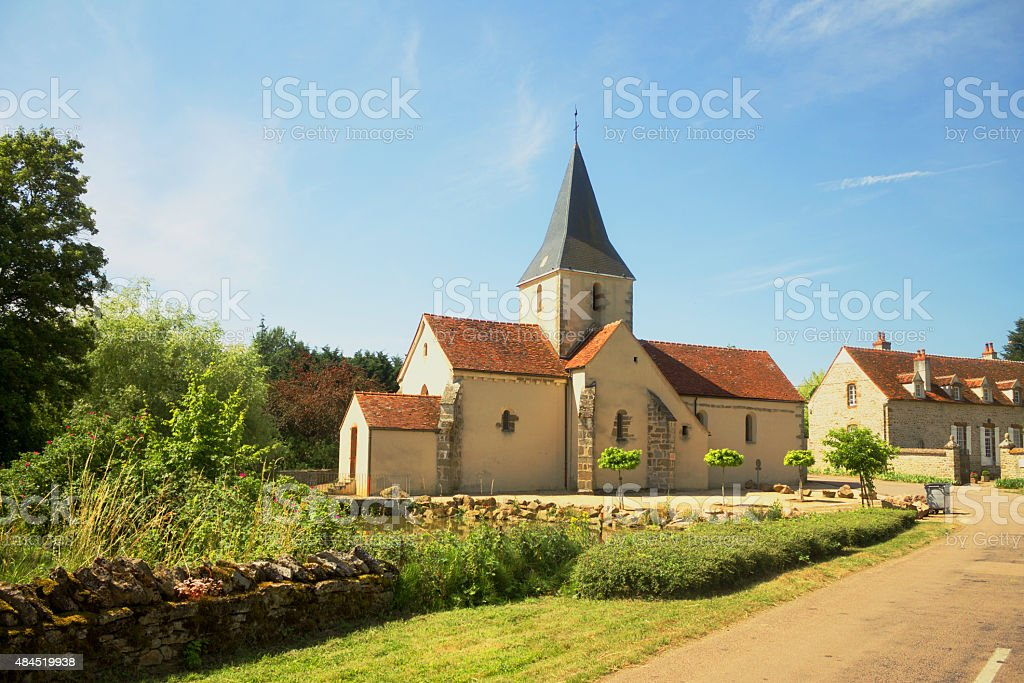 Rural church in Burgundy, France stock photo