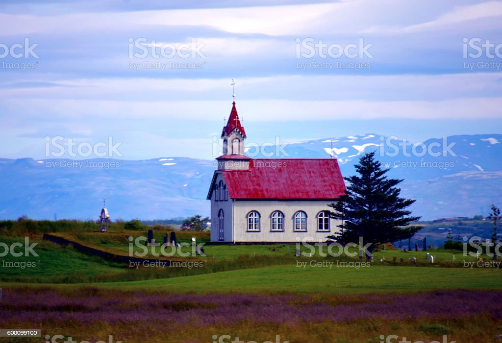 Rural Church in Iceland stock photo