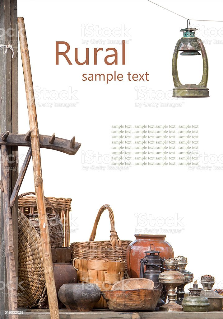 Rural composition of the older subjects on a white background stock photo