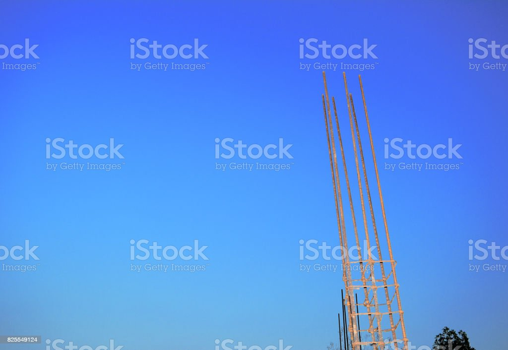 rural construction site and beautiful blue sky in evening stock photo