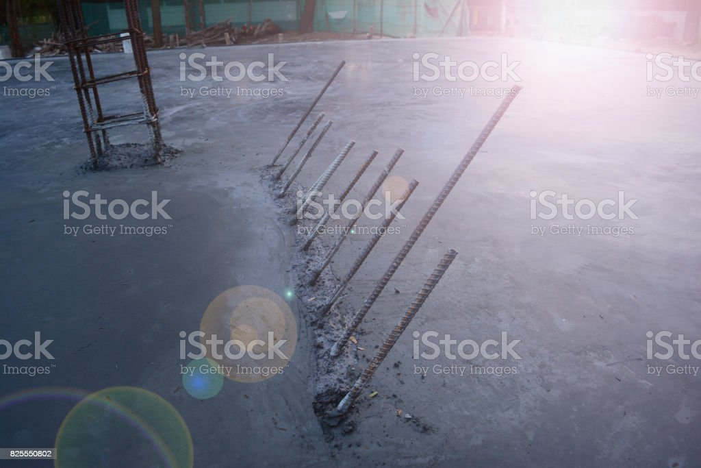 rural construction site in afternoon with flare stock photo