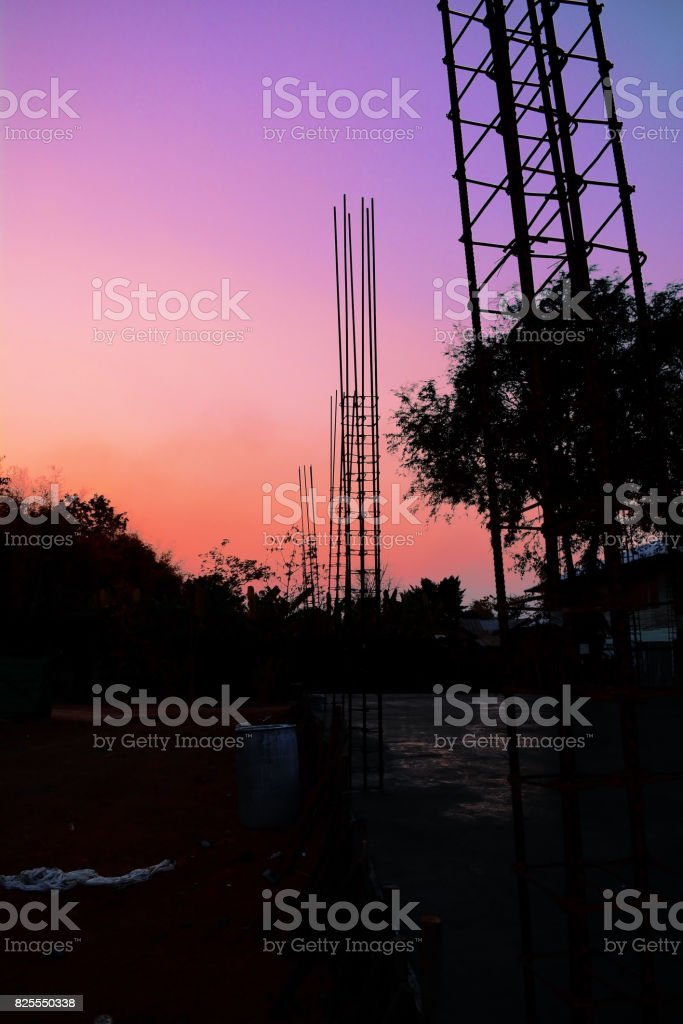 rural construction site in evening stock photo