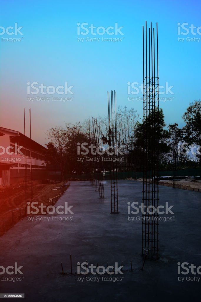 rural construction site with  blue sky in evening stock photo