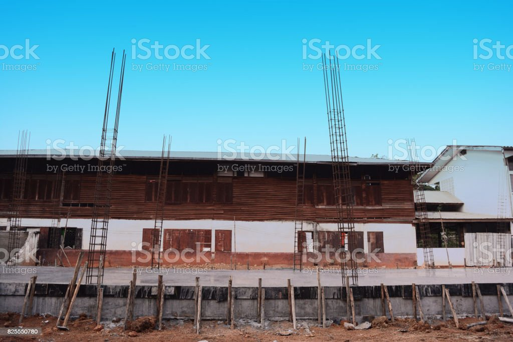 rural construction site with  blue sky stock photo