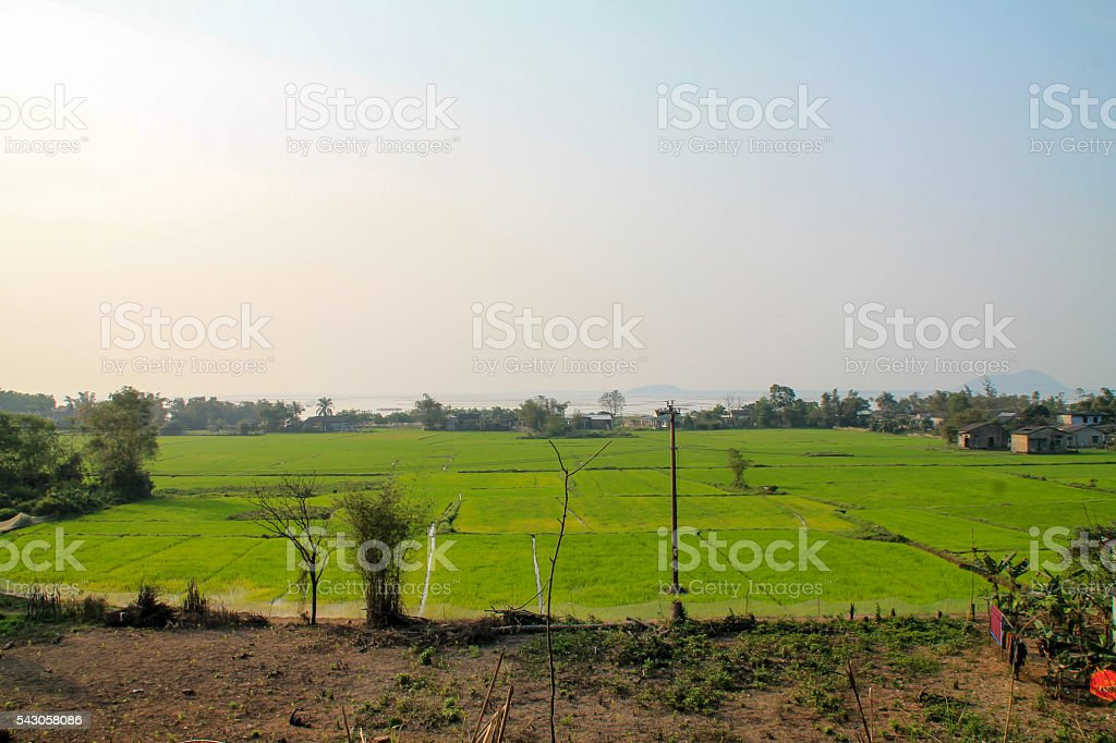 Rural countryside in Vietnam with rice fields. photo libre de droits