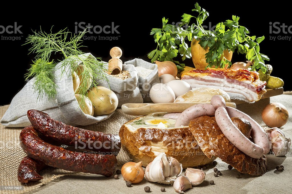 Rural Easter breakfast with fresh ingredients royalty-free stock photo