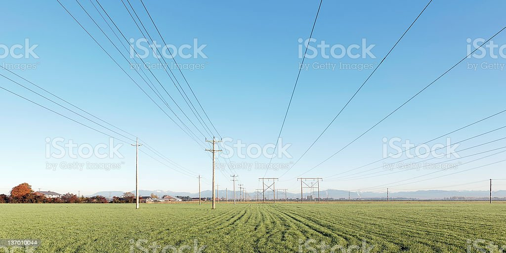 XL rural electric power lines royalty-free stock photo