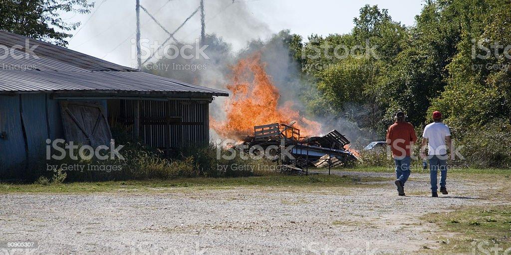 Rural Farm Debris Burn royalty-free stock photo