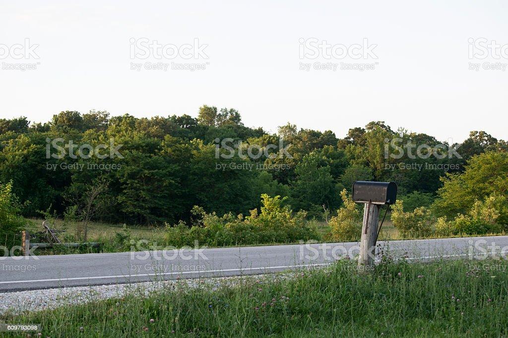 Rural Farm Roadside Mailbox stock photo