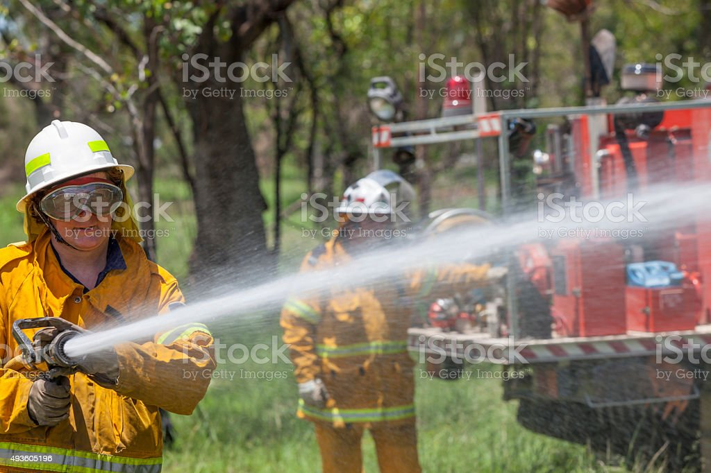 Rural Fire Fighter stock photo
