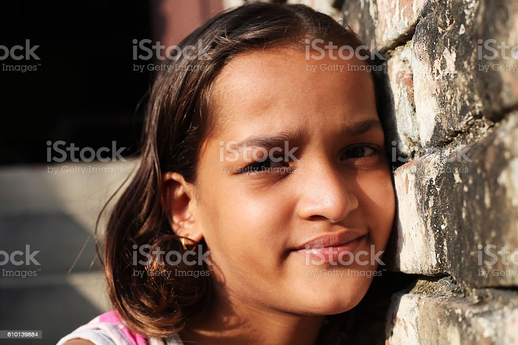 Rural Girl Portrait Close Up stock photo