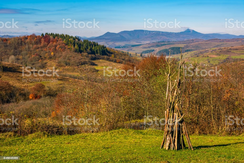 rural grassy fields on hills in gorgeous mountains stock photo