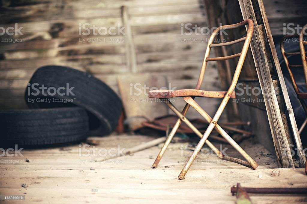 rural grunge texture background steel chair royalty-free stock photo